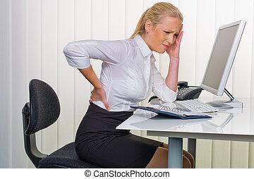 女性, 中に, オフィス, ∥で∥, 背中の痛み