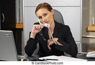 女性, 中に, オフィス, 5