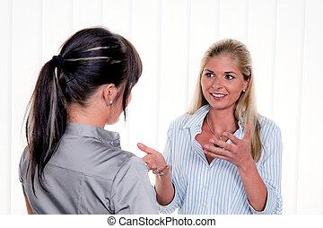 女性, 中に, 会話, オフィスで, arbitsplatz