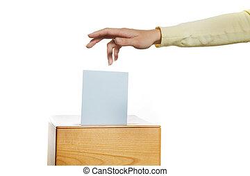 女性, 中に, ∥, 選挙, ∥で∥, 投票する, そして, 投票箱