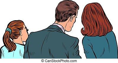 女性, 人, 後部, ビジネス 人々