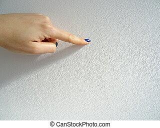 女性, 何か, 指すこと, 手