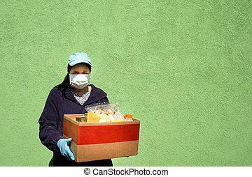 女性, 助け, 食物, 箱, 寄付, 食物