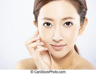 女性 化粧, 若い, 顔, クローズアップ, きれいにしなさい, 皮膚