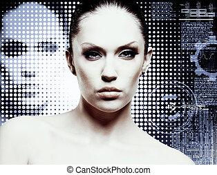 女性 化粧, 若い, glamour., スタジオ, 魅力的, portrait.