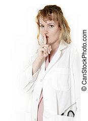 女性, 医者, ∥で∥, 指, の前, 唇