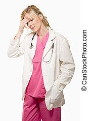 女性, 医者, ∥で∥, 頭痛