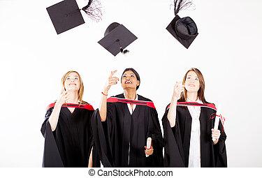女性, 卒業生, 投げる, 卒業式帽子