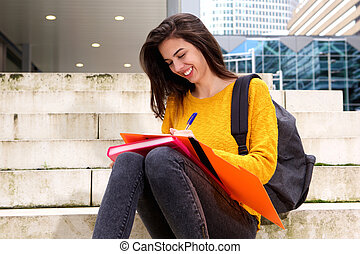 女性, 取得, 若い, ステップ, 学生, メモ, 幸せ