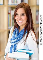 女性, 図書館, 本, 学生, 届きなさい, 教育
