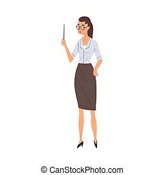 女性, 地位, 白, ポインター, 教師, 学校, イラスト, 専門家, 特徴, ベクトル, 背景