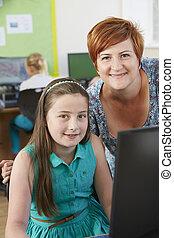 女性, 基本, 生徒, 中に, コンピュータクラス, ∥で∥, 教師