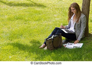 女性, 外, 大学生, 勉強する, キャンパス