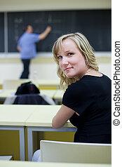 女性, 大学生, モデル, 中に, a, 教室