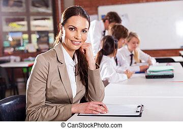 女性, 学校教師, 中に, 教室