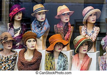 女性, 帽子, ファッション, ブティック