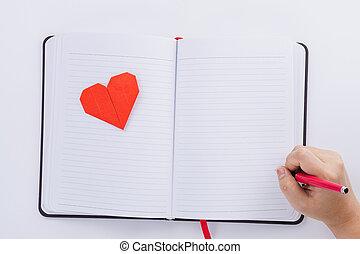 女性, 平ら, 手, カード, 挨拶, 上に, concept., 白, バレンタイン, ノート, 心, 保有物, 形, ペン, 日, コピー, 愛, 赤, 光景, space., 上, バックグラウンド。, 位置