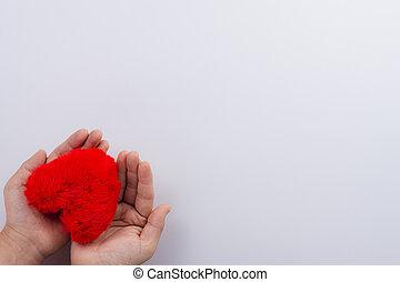 女性, 平ら, 手, カード, 挨拶, 上に, concept., 白, バレンタイン, 心, 保有物, 形, 日, コピー, 愛, 赤, 光景, space., 上, バックグラウンド。, 位置