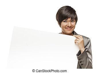 女性, 年轻, 签署, 比赛, 成人, 握住, 空白, 混合, 白色