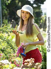 女性, 庭, 花屋, 仕事