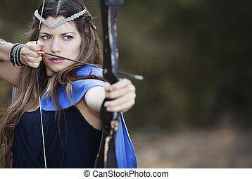 女性, 弓, 射手, arrow.