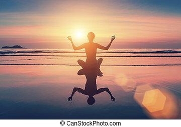 女性, 形成, 坐, 瑜伽