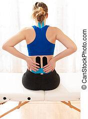 女性, 後部, 背中, kinesio, テープ, より低い, 彼女, モデル, kinesiology, 療法, ビュー。, テーブル, 検査, 患者, リハビリテーション, 健康診断, concept.
