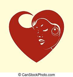 女性, 心, シルエット, 赤