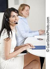 女性, 忙しい, 呼出し 中心