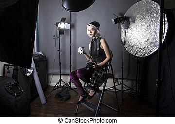 女性, 情報通, カメラマン, 飲む コーヒー