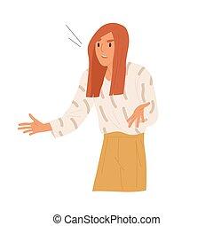 女性, 憤慨, 怒る, 神経質, illustration., いらいらさせられた, 問題, ベクトル, 悩まされる...