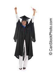 女性, 成功, 隔離された, 卒業生, 祝う, indian, 背景, 白