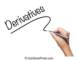 女性, 手の執筆, derivatives, ∥で∥, 黒, マーカー, 上に, ビジュアル, screen.,...