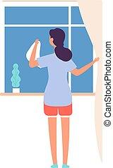 女性, 打扫, 套间, 家务劳动, 街道, 看, 矢量, 描述, 妇女, worker., 布, 洗涤, 女孩, 家庭主妇, 服务, 窗口。, 或者
