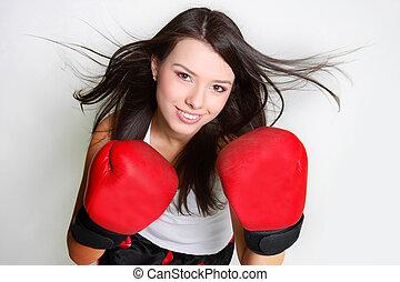 女性, 打撃, ボクサー, スタジオ, smiiling