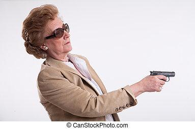 女性, 指すこと, 彼女, 銃