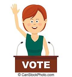女性, 政治家, 作り, a, キャンペーン, スピーチ