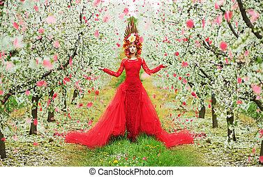 女性, 春, 歩くこと, の間, ∥, 花弁, 雨