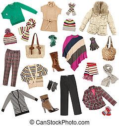 女性, 暖かい, 冬, clothes., 衣服