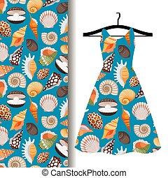 女性, 服, 生地, 海の貝