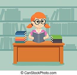女性, 本, 読書, 学生