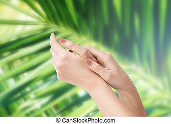 女性, 柔らかい 皮, 手