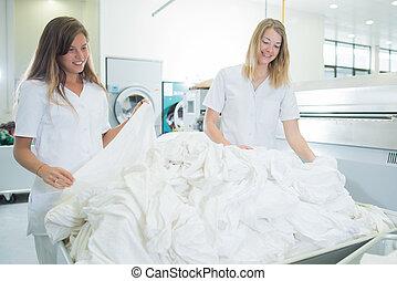 女性, 洗濯室, 仕事, 2