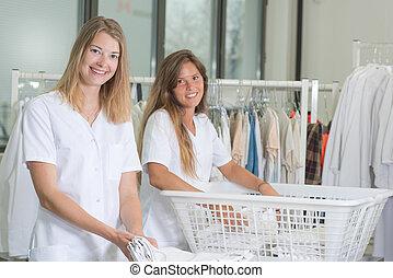 女性, 洗濯物, 2, 仕事