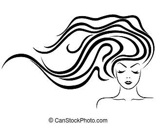 女性, 流れ, 毛, 顔, sensual