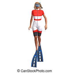 女性, 潛水者, 由于, 水下通气管