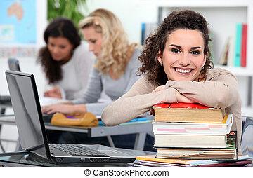 女性, 生徒, クラスで