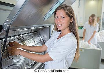 女性, 産業, 洗濯物, 仕事
