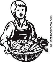 女性, 産物, 収穫, バスケット, レトロ, 農場, 有機体である, 野菜, 農夫, 木版