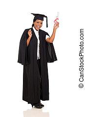 女性, 畢業生, 由于, 畢業証書